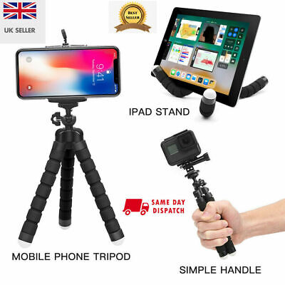 Universal Mobile Phone Tripod Stand Grip Mount For Camera Phone Holder UK Seller • 2.99£