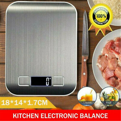Digital Kitchen Weighing Scales Stainless Steel With Detachable Bowl 11lb/5kg • 8.89£