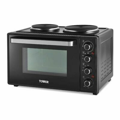 Tower 32L Table Top Compact Electric Mini Oven In Black With Hotplates T14044 • 99.99£