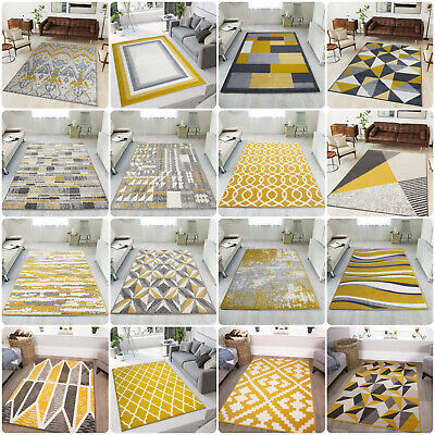 Modern Yellow Living Room Rugs Small Large Geometric Rug Cheap Ochre Hall Runner • 69.95£