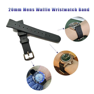 Soft Rubber Waffle Watch Band Strap For Seiko 6105 6217 6159 Diver Watch 20mm • 9.99£