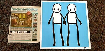 Stik Blue Print Poster Hackney 2020 Limited Edition With Newspaper. HAND SIGNED  • 390£