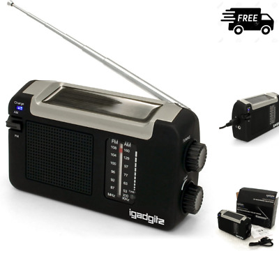 IGadgitz Xtra Wind Up, Solar & USB Rechargeable Portable AM/FM Radio With 3 NEW • 19.99£