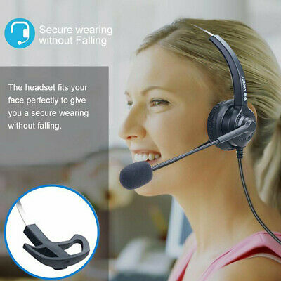 Wired Noise Cancelling Headphone Microphone Headset Call Centre Office Telephone • 7.99£