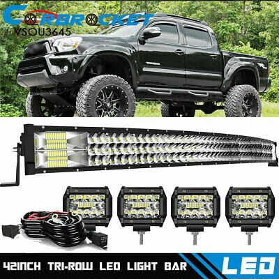 $82.66 • Buy For 2005-2015 Toyota Tacoma Curved 42  LED Light Bar Roof + Cube Pods Combo Kit