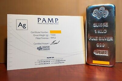 AU1480 • Buy PAMP Suisse 1Kg Silver Bullion Bar With Assay Certificate (Getting Scarce!!)