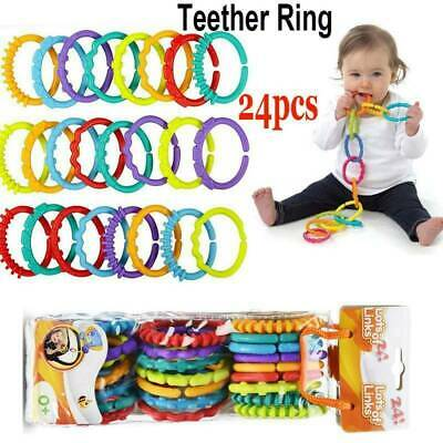 24x Rainbow Teether Ring Links Silicone Baby Kids Infant Stroller Play Mat Toy! • 6.45£