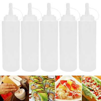 5pcs 230ml 8oz Plastic Squeeze Sauce Ketchup Mustard Bottle Dressing Barbecue • 5.89£