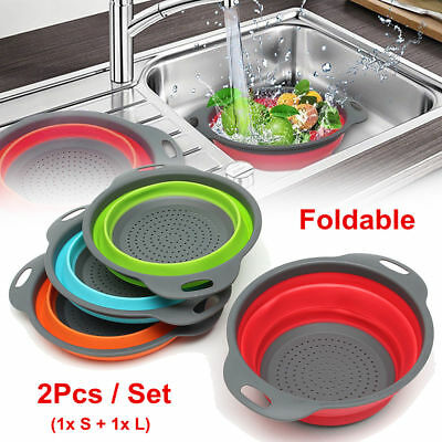 UK2Pcs Silicone Collapsible Colander Fruit Vegetable Draining Strainer Basket • 10.77£