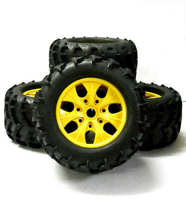 810004 1/8 Scale Off Road RC Monster Truck Wheels And Tyres X 4 Yellow • 32.99£