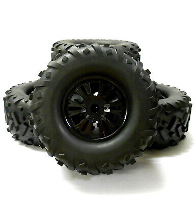 810021 1/8 Scale Off Road RC Nitro Monster Truck Wheel And Tyres Tires X 4 Black • 32.99£