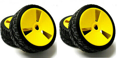 1/8 Scale On Road Nitro Electric Buggy RC Wheels And Tyres Tires Disc Yellow X 4 • 20.99£