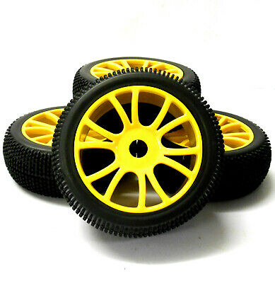 180057 1/8 Scale Off Road Buggy RC Wheels Block Tread Tyres Dual Spoke Yellow 4 • 20.99£
