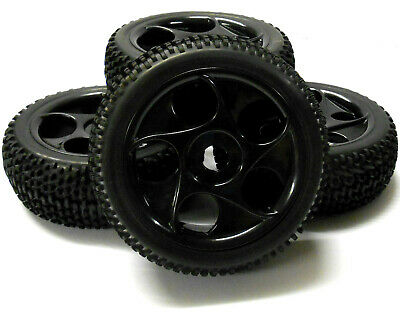 180061 1/8 Scale Nitro Off Road Buggy RC Wheels And Tyres '5 Holes' Black X 4 • 20.99£