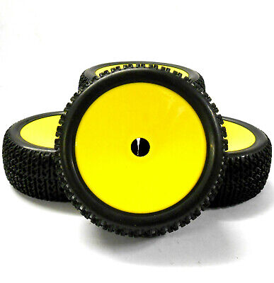 180120 1/8 Scale Off Road Buggy RC Wheels And Tyres Disc Yellow X 4 • 20.99£