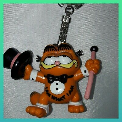 Vintage Garfield Figure Keyring I Am What I Am Bully West Germany 1981 • 8.20£