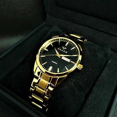 SAACH 6898 Men's Gold Watch With Black Dial • 99£