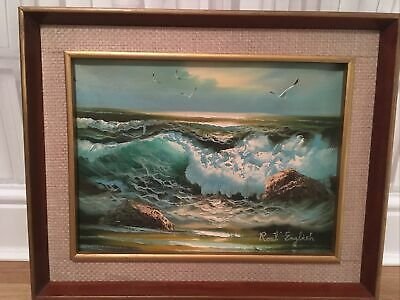 VINTAGE RETRO 70s KITSCH SEA AND WAVES PAINTING OIL ON CANVAS SIGNED  • 60£
