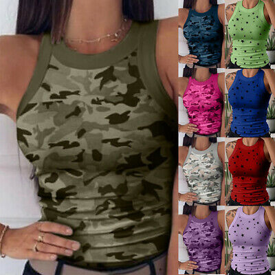 £6.29 • Buy Womens Sleeveless Camo Vest Tops Summer Casual Slim Fit Tank Top T-Shirt Blouse
