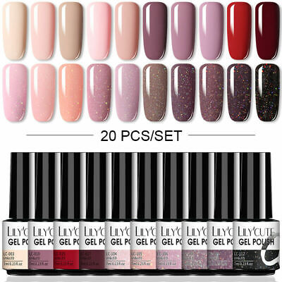 20Pcs/Set LILYCUTE 7ML UV Nail Gel Polish Glitter Soak Off Nail Art Gel Varnish • 5.99£