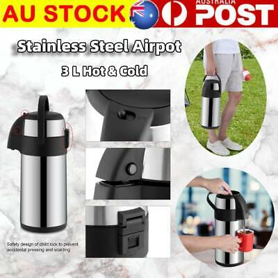AU37.99 • Buy 3L Pump Action Airpot Stainless Steel Coffee Beverage Thermos Carry Handle AU