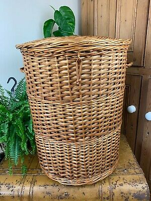 Vintage Extra Large Willow Wicker Circular Laundry Storage Basket With Lid • 24.99£