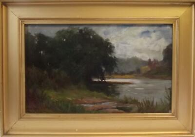 ARTHUR WYBROW POPE Exh. 1898-1928 Bucolic River Trent Oil Painting C1920 • 12.50£