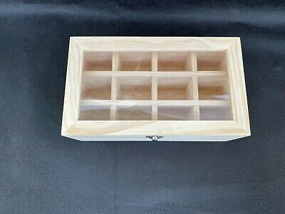 12 Compartment Pine Wooden Storage Display Box With Acrylic Lid Decoupage NEW  • 6.99£