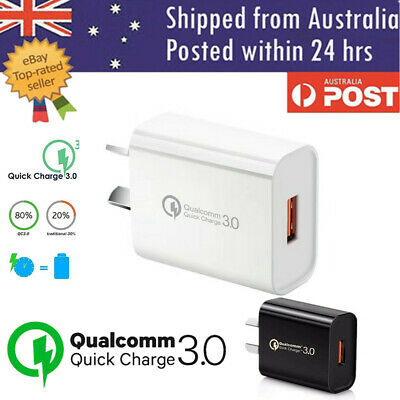 AU7.30 • Buy Fast Charging QC3.0 Certified USB Wall Plug Charger Adapter Samsung Apple Huawei