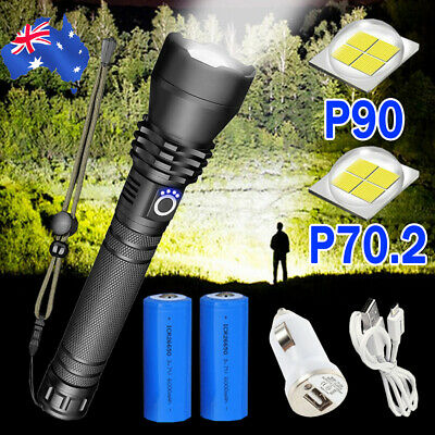 AU24.69 • Buy XHP90 3 Mode Zoom Most Powerful 150000LM Tactical Flashlight LED Hunting Torch