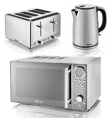 Swan Polished Stainless Steel Set Electric Kettle 4 Slice Toaster And Microwave • 229.99£