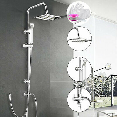 Dual Shower Mixer Set Kit Head & Hose Rainfall Rail Riser Valve Chrome Square UK • 27.89£