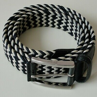 ANDERSONS WOVEN ELASTICATED BELT -  UK 40  BLACK & WHITE With BLACK BUCKLE • 45£