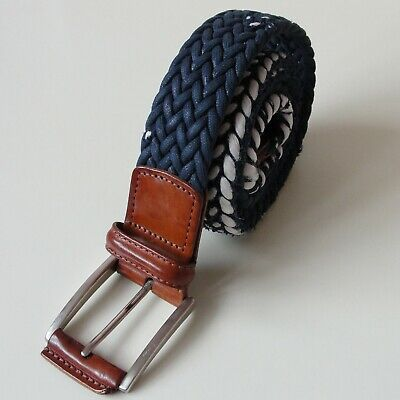 ANDERSONS WOVEN ELASTICATED BELT -  UK 40  NAVY & WHITE With BROWN BUCKLE • 45£