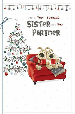 £5.59 • Buy Boofle Sister & Partner Embellished Christmas Greeting Card Cute Xmas Cards