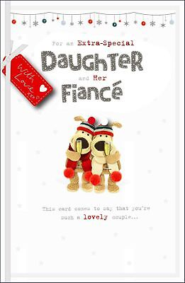 Boofle Daughter & Fiance Embellished Christmas Greeting Card Cute Xmas Cards • 5.99£