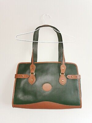 Women Vintage Green Tan Leather Tote Large Bag • 34£