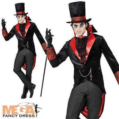 Count Dracula Mens Fancy Dress Victorian Vampire Adults Halloween Costume Outfit • 16.99£