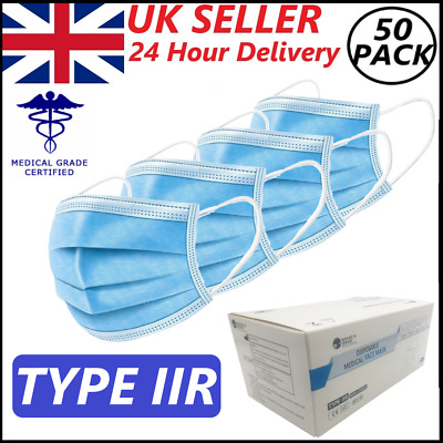 Type IIR MASK 3PLY SURGICAL MEDICAL GRADE FACE MASK BOXED NON STERILE 50pc *UK* • 12.95£