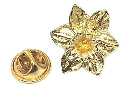 £3.99 • Buy Hand Cast Fine English Pewter Pin Badge Flower Welsh Wales Daffodil Gold (≈25mm)