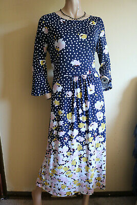 Boden ~ Navy Blue Spotted & Floral Print Long Jersey Midi Dress ~ Size 16 • 10.49£