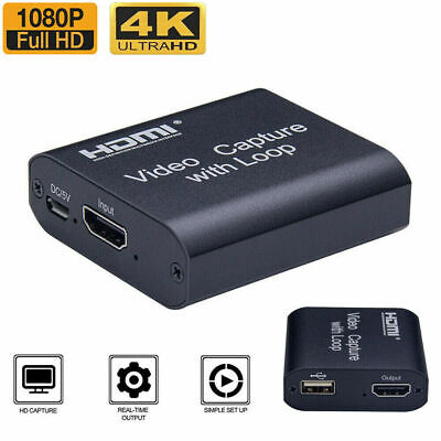 4K HD 1080P 60fps HDMI Video Capture Card USB 2.0 Mic Game Record Live Streaming • 14.38£