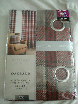 OAKLAND - Woven Check / Tartan -  Lined Eyelet Curtains  - Red - 46  X 54  - NEW • 21.99£