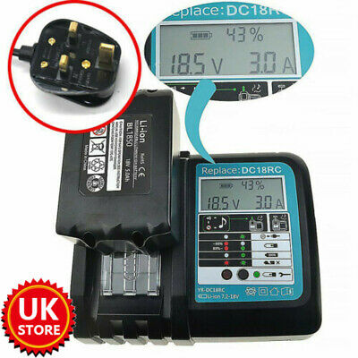For Makita DC18RC Replacement Fast Battery Charger 7.2V-18V LCD Screen UK Plug • 20.44£