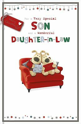Boofle Son & Daughter-In-Law At Christmas Greeting Card Embellished Xmas Cards • 5.99£