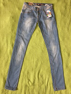 BNWT New Desigual Blue Slim Fit Jeans Size 26 Embroidered Gold Sequin Skinny • 15£