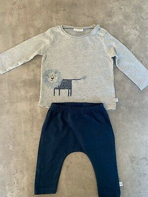 Baby Boy 0-3 Months Next Outfit Lion Top Matching Navy Bottoms Immaculate • 1.60£