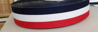 1 Metre - 38mm (1.5 ) Wide RED/WHITE/NAVY WOVEN STRIPE DOUBLE SIDED FLAG RIBBON • 1.50£