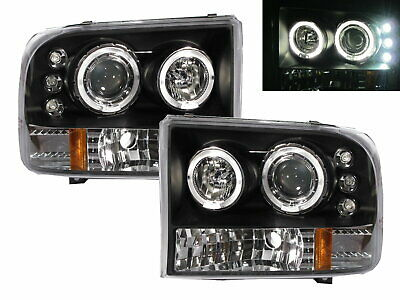 AU495.99 • Buy F250/F350/F450/F550 05-07 Angel-Eye Projector Headlight Black V2 For FORD LHD