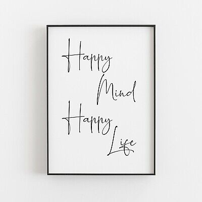 £5.49 • Buy Happy Mind Happy Life Typography Print Wall Art Poster Inspirational Love